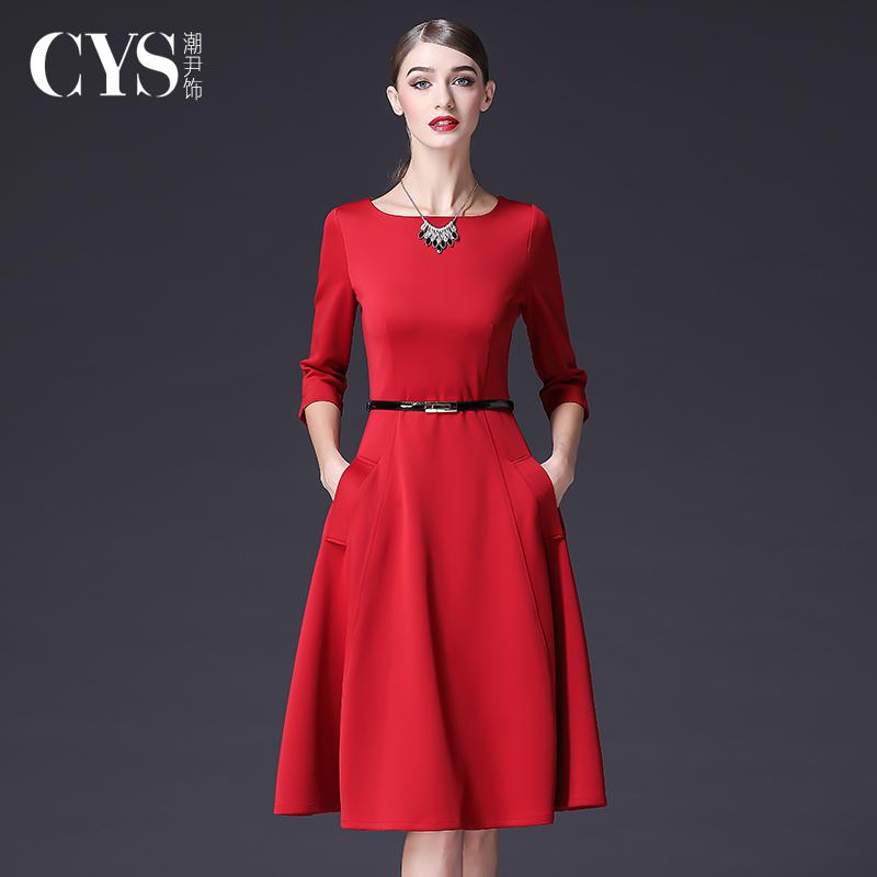 秋季红色长袖连衣裙2021秋冬新款女装赫本风收腰显瘦气质修身裙子