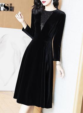 金丝绒连衣裙高贵洋气2021秋冬新款长袖气质丝绒小黑裙长裙女春秋