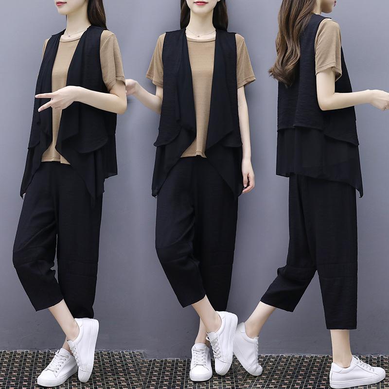 (用143元券)大码女装三件套洋气减龄裤装25-29周岁遮肚夏装胖妹妹显瘦套装潮