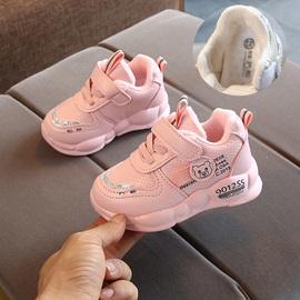 宝宝秋冬季二棉鞋女童加绒运动鞋1-3岁婴幼儿小童潮鞋软底男童鞋5
