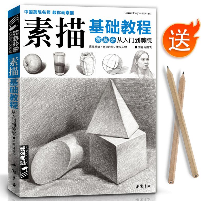 经典全集 素描零基础初自学入门教程材书籍者铅笔手绘画画册本从单个体石膏几何体成人美术的诀窍临摹范本到精通套人物考级杨建飞