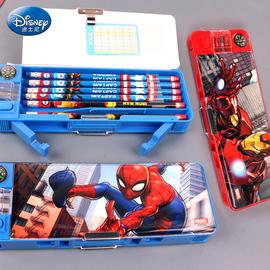 迪士尼文具盒漫威蜘蛛侠多功能双开铅笔盒小学生指南针削笔笔盒男