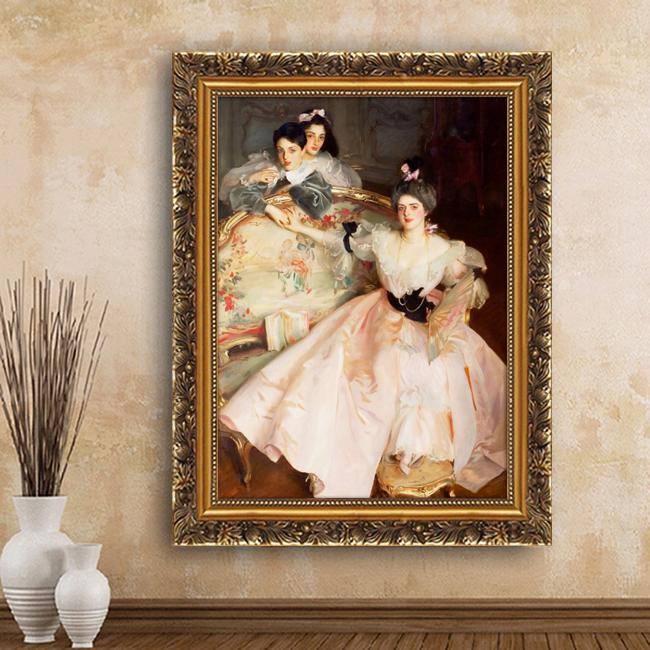 欧式装饰画酒店墙画西方人物喷绘 油画古典美女卧室玄关KTV包房画图片