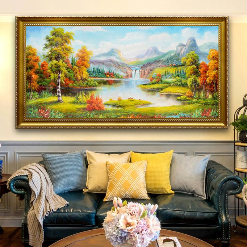 聚宝盆山水画田园风景挂画欧式客厅装饰画沙发背景墙油画招财壁画