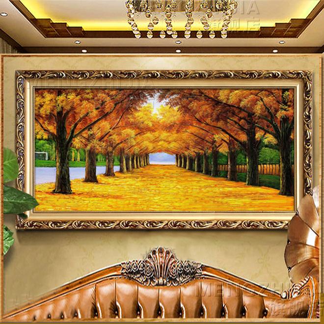 辦公室風景發財樹油畫客廳黃金大道有框沙發背景墻掛畫歐式裝飾畫