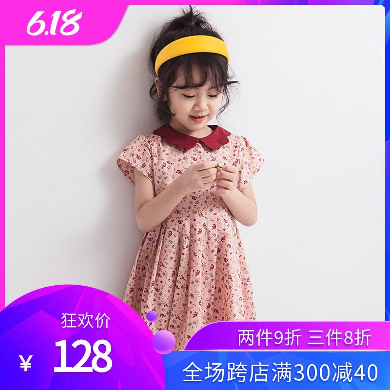 女童连衣裙2020夏装新款小女孩夏天复古短袖纯棉儿童碎花连衣裙