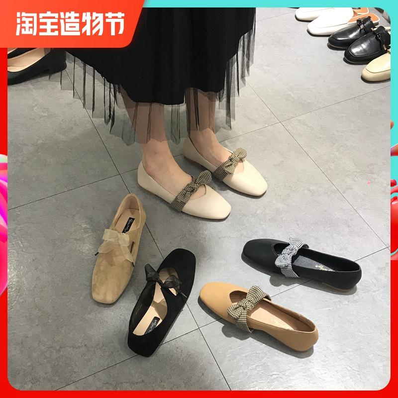 玛丽珍平底鞋女蝴蝶结浅口小皮鞋仙女平跟懒人单鞋方头复古奶奶鞋