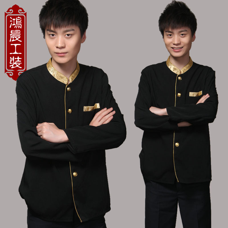Hotel work clothes Hotel Chinese and western restaurant hot pot shop waiter service long sleeve catering suit mens simple short sleeve
