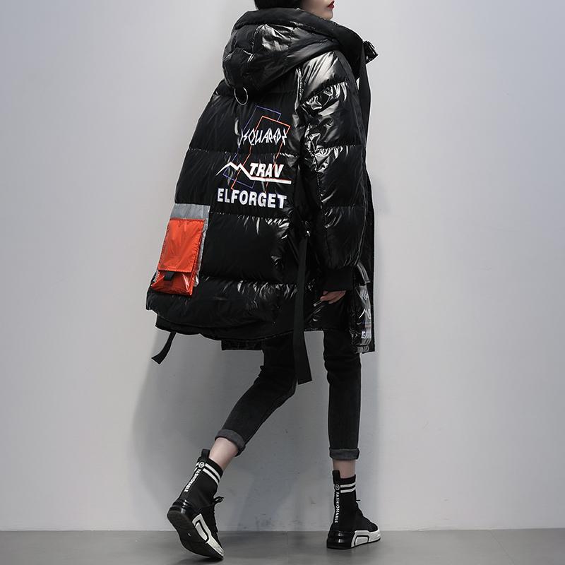 2020冬季新款韩版黑色连帽亮面时尚白鸭绒中长款羽绒服女加厚外套