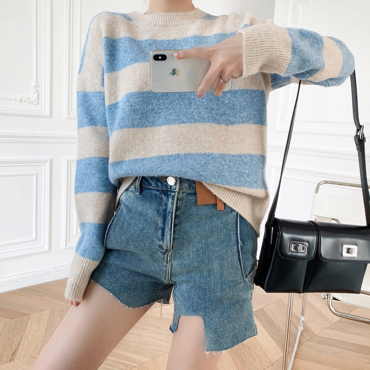 Psaimo gentle temperament new womens mohair wool blended stripe knitted sweater sweater in autumn / winter 2020