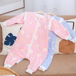 3层6层纯棉纱婴儿分腿睡袋儿童防踢被宝宝爬服哈衣春夏秋柔软透气