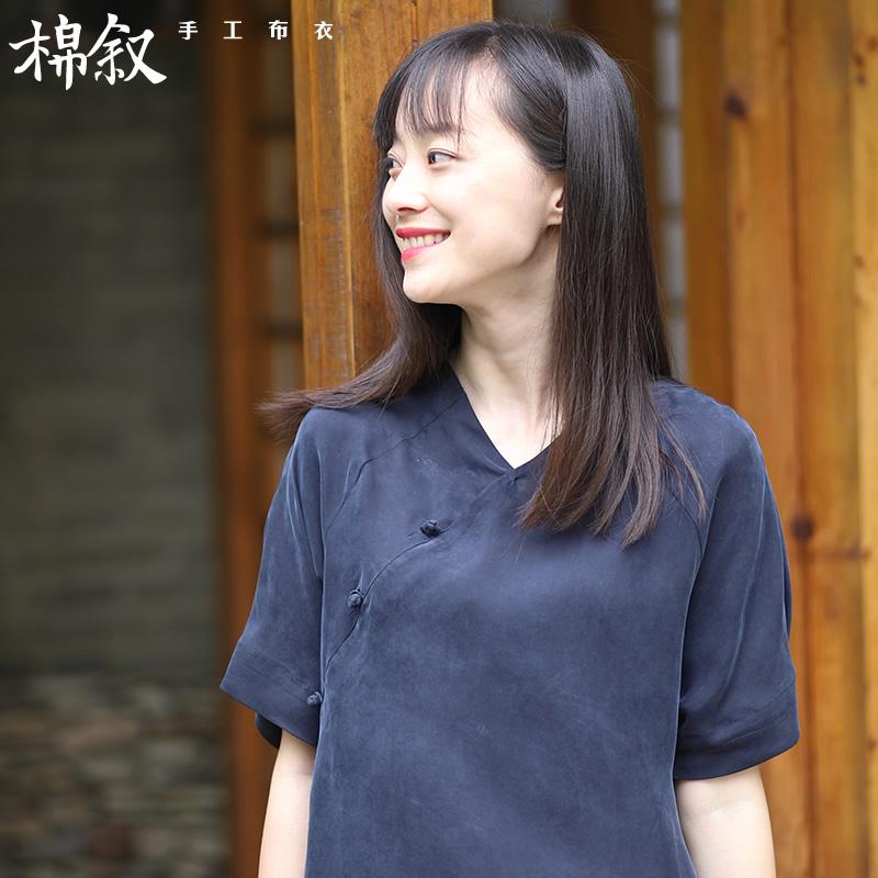 棉叙M8081 2018夏新款中式复古女装铜氨丝上衣宽松显瘦短袖T恤女
