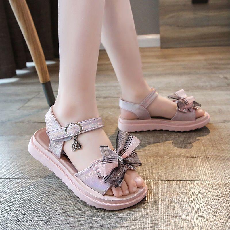 女童凉鞋2021夏季新款时尚童鞋女孩蝴蝶结鞋子儿童软底防滑沙滩鞋