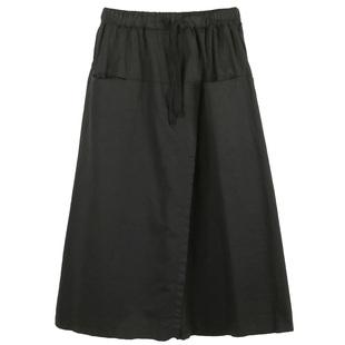 秋季文藝範復古高腰裙褲女鬆緊腰綁帶七分闊腿褲斜開叉假裙子褲裙