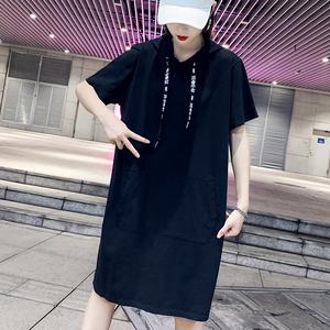 2020新款大码短袖连衣裙夏女连帽休闲运动宽松中长款直筒显瘦裙子