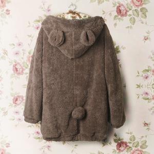 2020新款秋冬卫衣女装超萌毛绒小熊耳朵开衫卫衣毛毛长款加厚绒衫