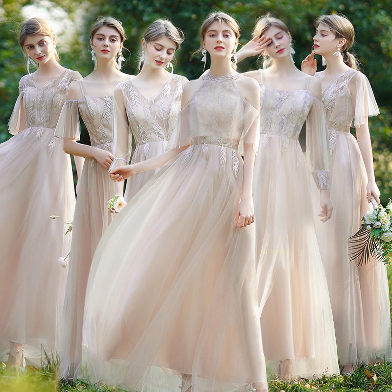 伴娘礼服女2021新款平时可穿姐妹团仙气质显瘦小轻裙主持大码夏季