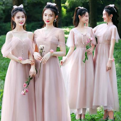 伊莎贝尔伴娘礼服女2021新款平时可穿姐妹团仙气质显瘦简单裙冬季