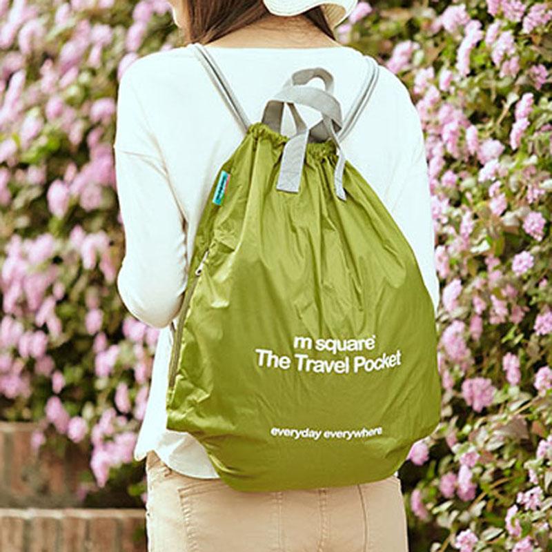 Strap pocket Drawstring Backpack mens and womens super light carrying bag travel sports waterproof folding skin bag