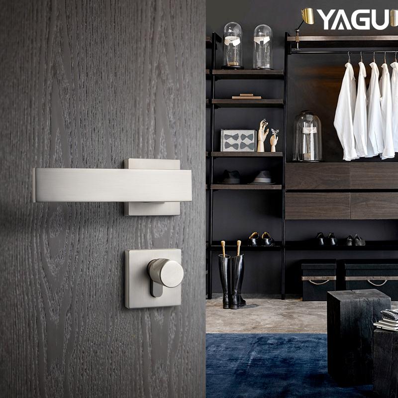 YAGU/亚固北欧现代室内房门锁套装卧室执手简约门把手门锁三件套