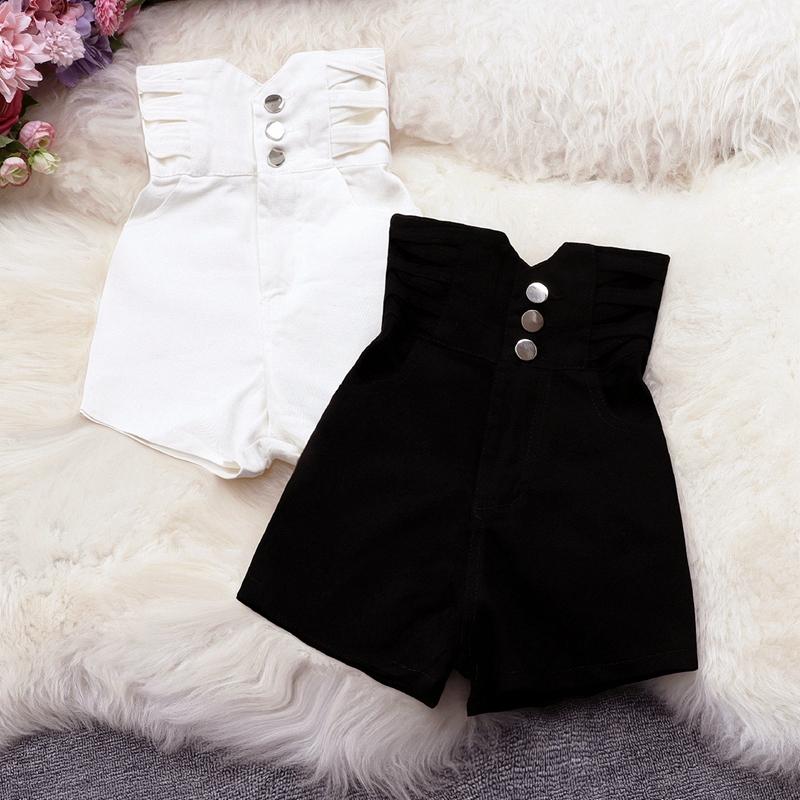 实拍2021新款女装个性特色交叉条高腰短裤黑色白色百搭显瘦牛仔裤