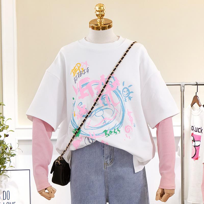 2304#实拍实价 65聚酯纤维 30棉 5氨纶 2021新款假两件长袖T恤女