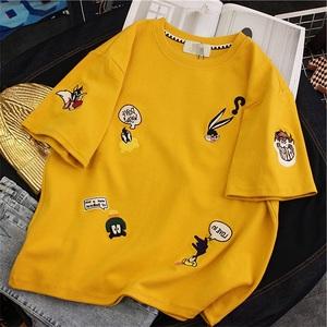 7030#官图港风ins夏装少女短袖t恤2019新款宽松学生丧系黄色上衣