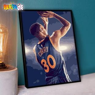 数字油彩画diy油画人物NBA篮球明星手绘填色手工装饰画 勇士库里
