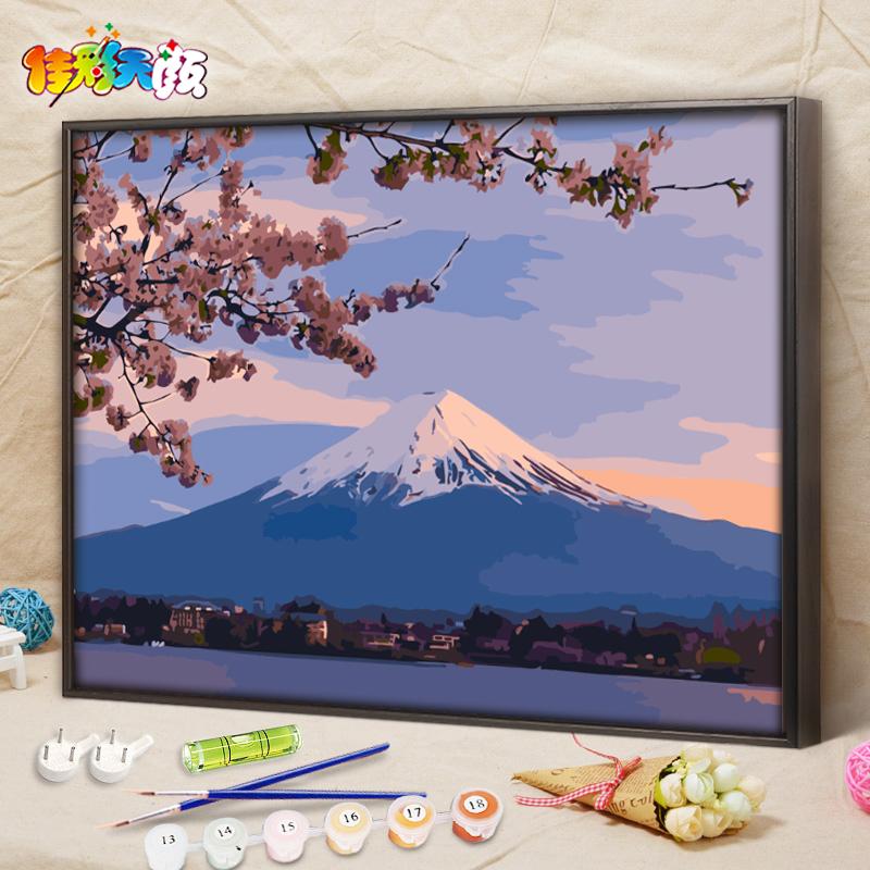 数字油画风景花卉日本富士山樱花手绘填色客厅装饰画佳彩天颜diy