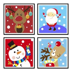 佳彩天颜 diy数字油画动漫儿童小尺寸迷你麋鹿圣诞树节亲子装饰画