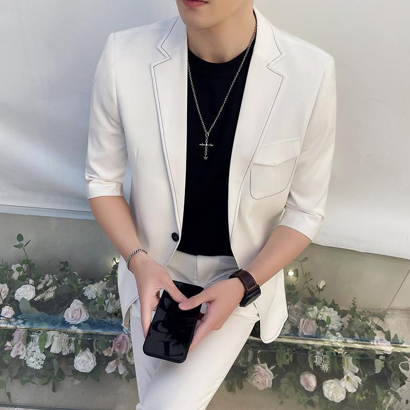 夏装男修身纯色中袖西装两件套刺绣七分袖西服白色LJT207/P220