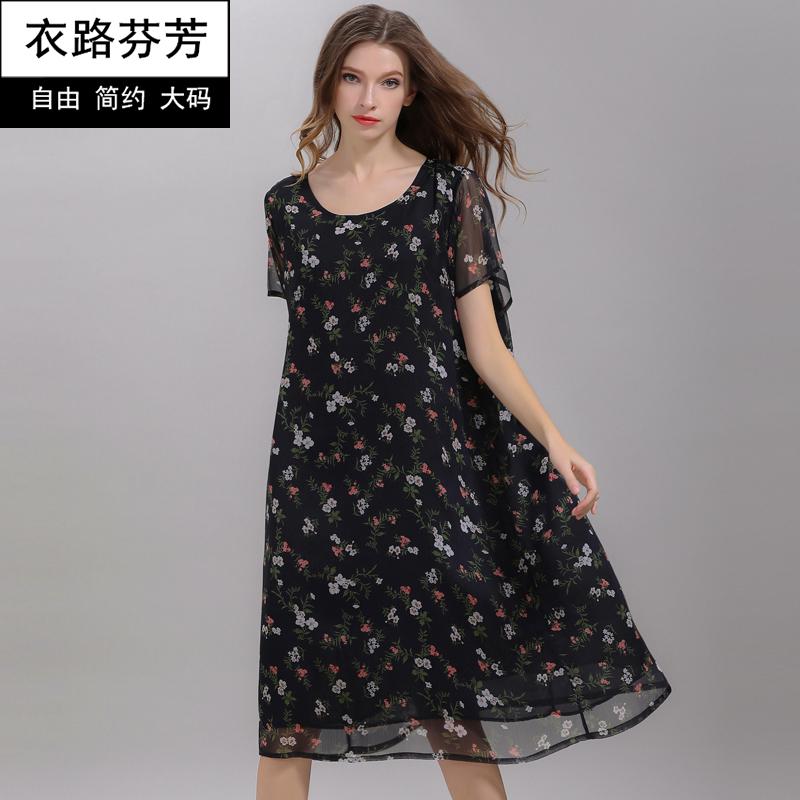 衣路芬芳2018夏季新款连衣裙胖mm遮肚子胖人裙大码女装碎花雪纺裙
