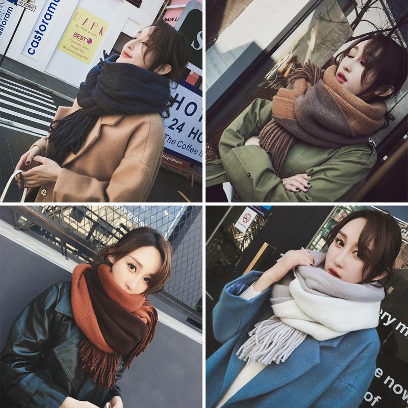 围巾女冬季韩版百搭长款秋冬加厚披肩保暖针织毛线学生春秋围脖新