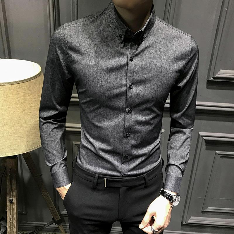 男士高级韩版修身春秋长袖2021衬衫
