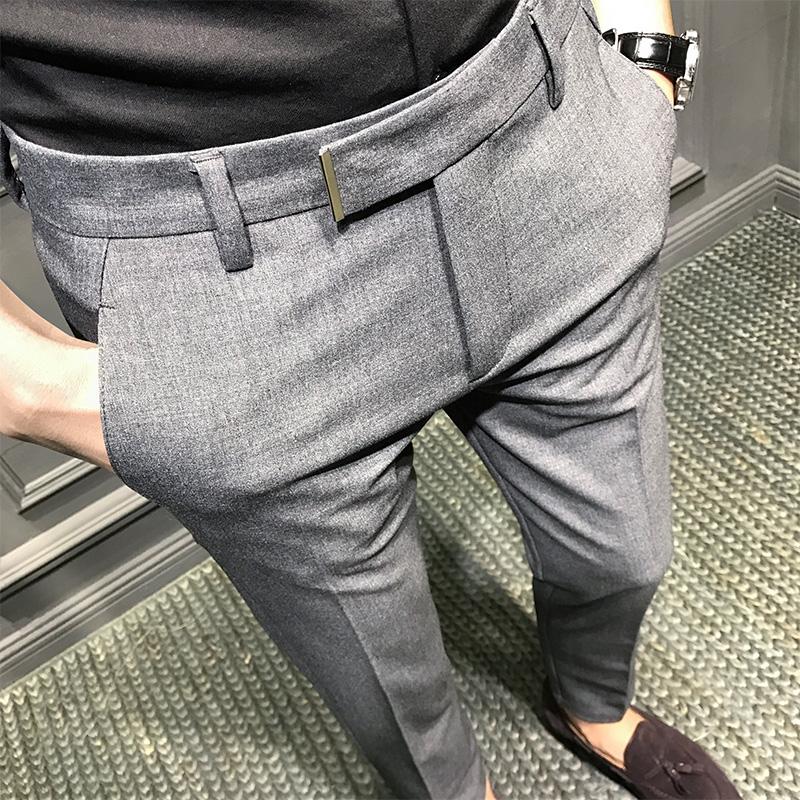 秋季新款韩版修身休闲西裤男九分裤小脚裤男士长裤子潮流青年免烫