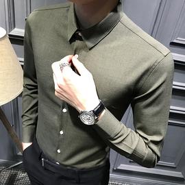 秋装男士长袖衬衫加绒韩版修身商务衬衣男英伦黑色正装潮流男装寸