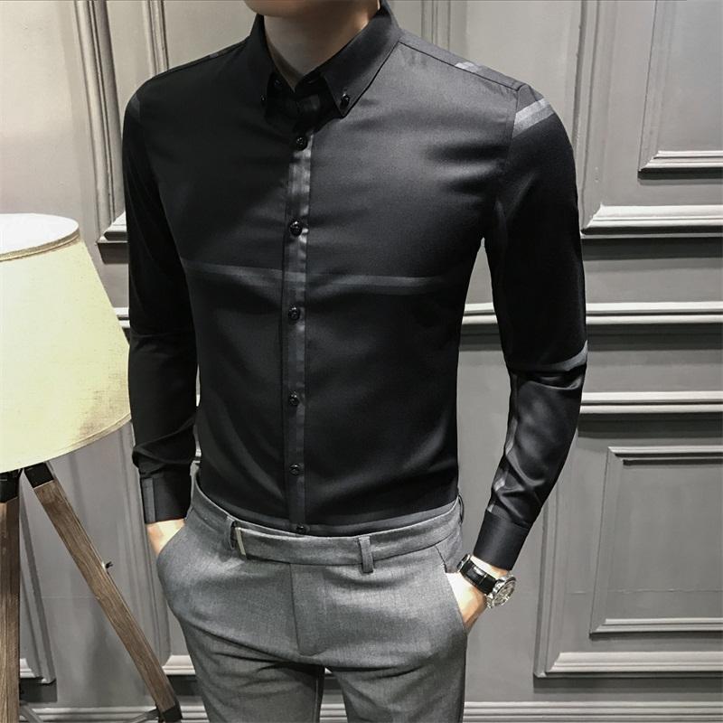 2019新款男士长袖衬衫修身加绒男款长袖衬衣韩版休闲潮流商务男装图片