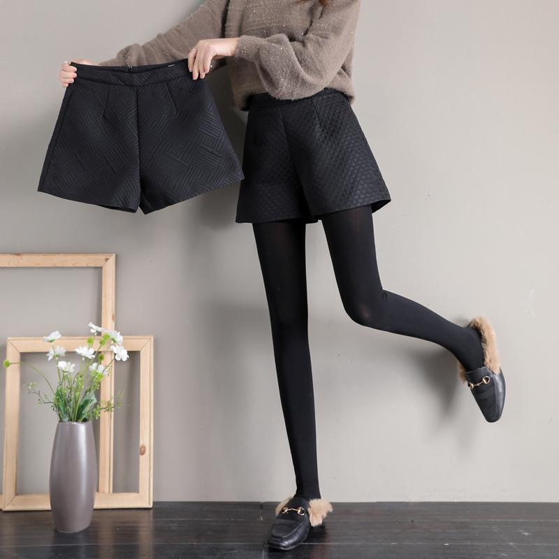 阔腿短裤女秋冬款外穿高腰2020新款冬季加厚冬天A字配靴子百搭