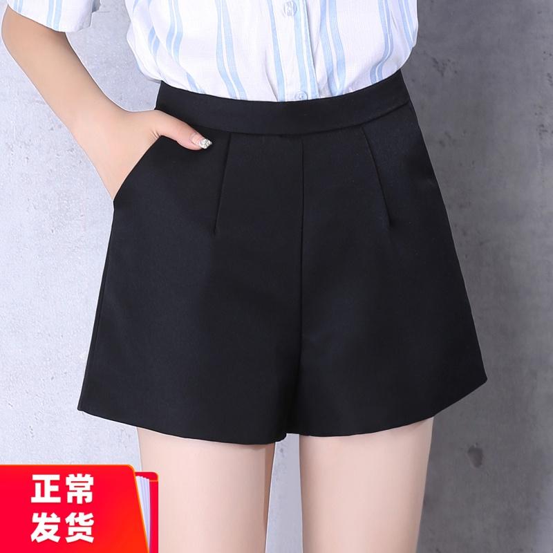 短裤女春秋款外穿高腰阔腿A字春装西装潮ins2020新款夏韩版黑色