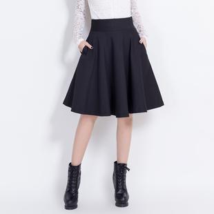 中长款女士高腰黑色a字2019半身裙