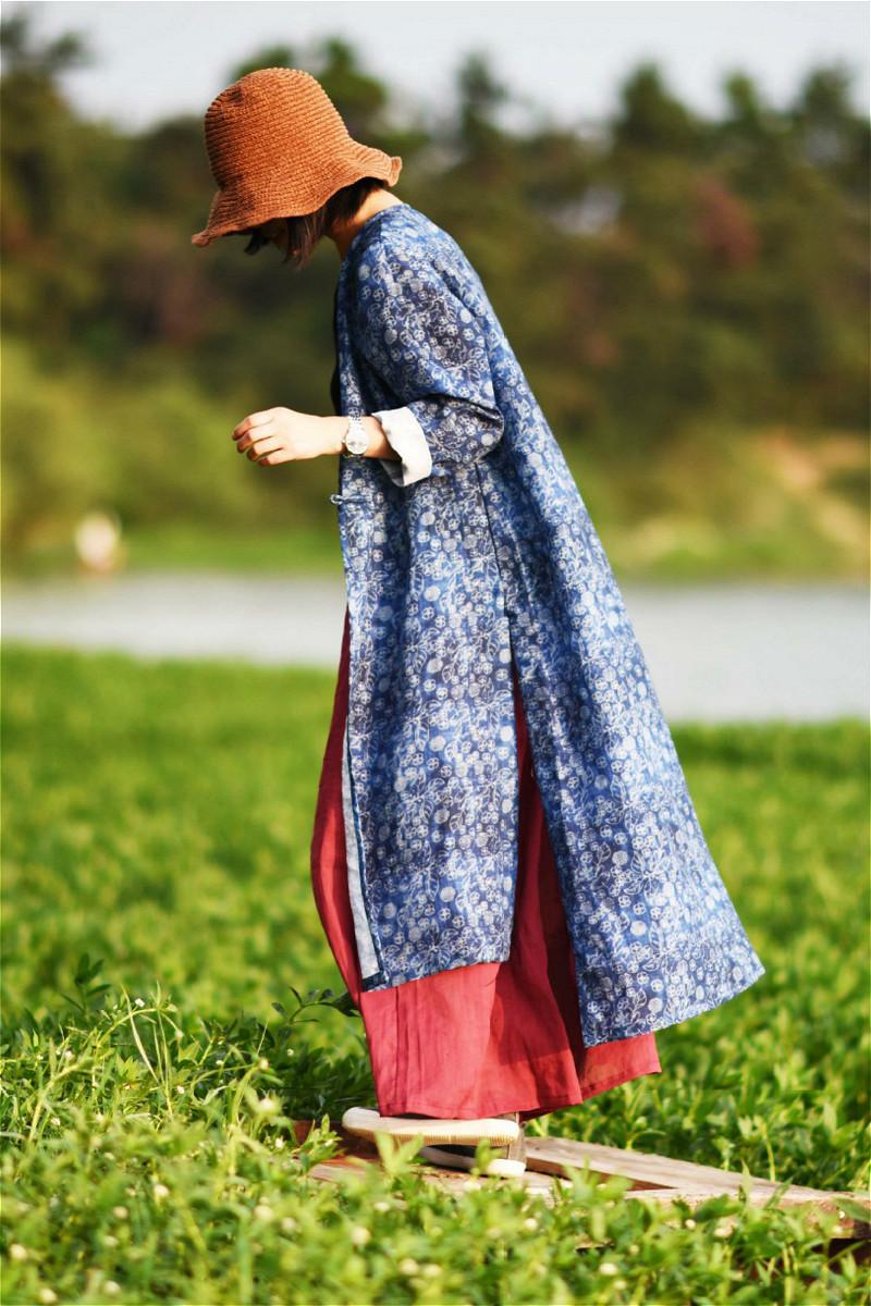 秋季复古蓝色印花民族风棉麻外套中式风衣中长款宽松外搭亚麻女装