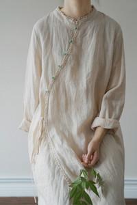 夏复古拼接蕾丝苎麻连衣裙女纯色国风少女旗袍年轻款宽松仙女长裙