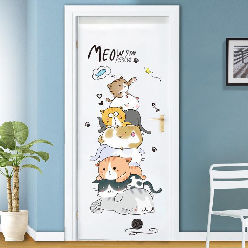 温馨叠猫猫门贴儿童房卡通卧室贴纸墙贴宿舍走廊房间装饰贴画自粘
