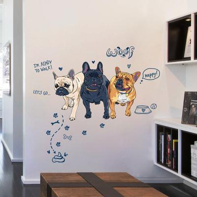 个性狗狗墙贴客厅卧室沙发背景墙装饰贴画宠物店装饰贴纸自粘墙纸