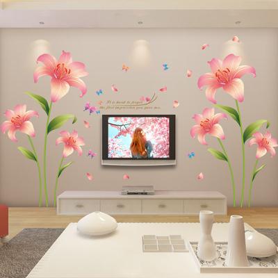 温馨花朵卧室客厅电视背景墙贴纸贴画可移除沙发墙面装饰墙纸自粘