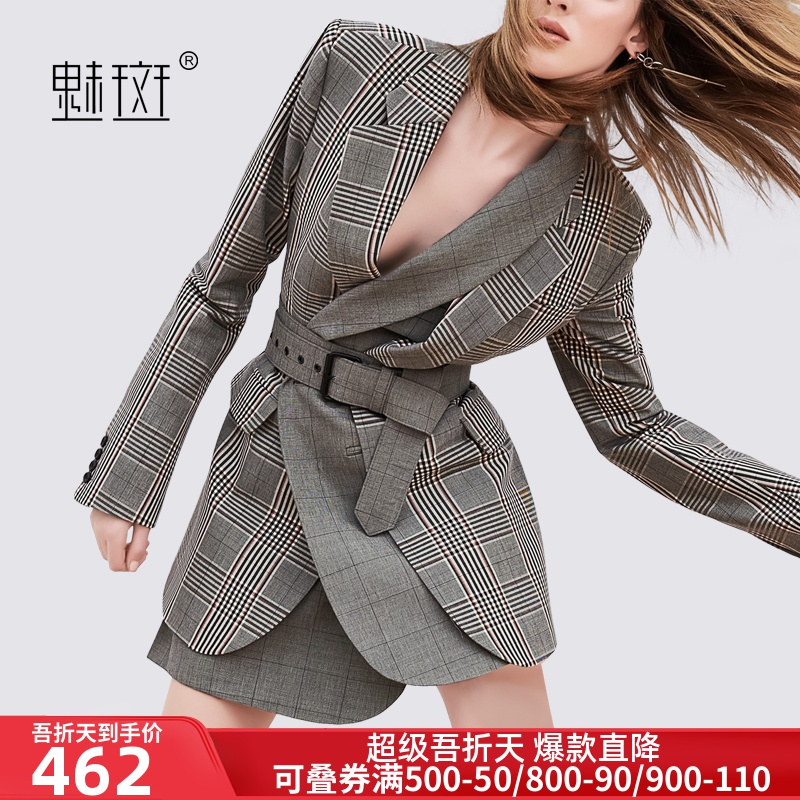 Meiban retro British style sub suit women's 2020 spring and autumn new waist collection medium length temperament small suit coat