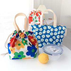 超实用!日式花朵手提便当袋女学生收纳束口袋抽绳小布袋手拎包袋
