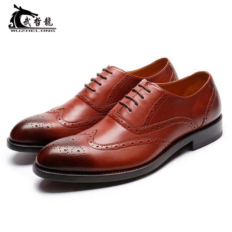 Italian brocade business dress leather shoes mens leather lace up Oxford Shoes wedding shoes imported calf leather