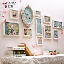照片墙装饰欧式实木相框挂墙上组合连体挂相片框创意儿童卧室客厅