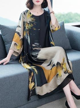 2021女高档夏季新款宽松时尚大码气质中长款重磅桑蚕丝真丝连衣裙